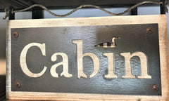 CABIN sign in wood and metal at Art 2 Heart Gift Shop in Hamel MN