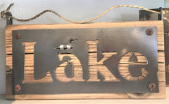 LAKE sign in wood and metal at Art 2 Heart Gift Shop in Hamel MN