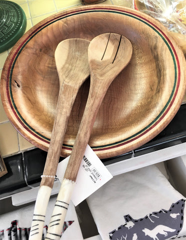 Handmade wooden salad set from Art 2 Heart Gift Shop in Hamel MN
