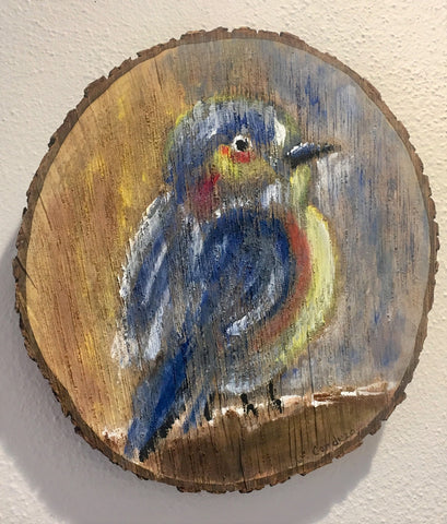 Hand-painted bird on wood slice from Art 2 Heart Gift Shop in Hamel MN