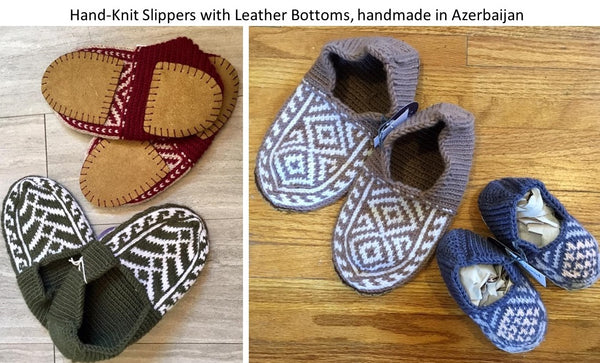 Hand-knit slippers with leather bottoms from Art 2 Heart Gift Shop in Hamel MN