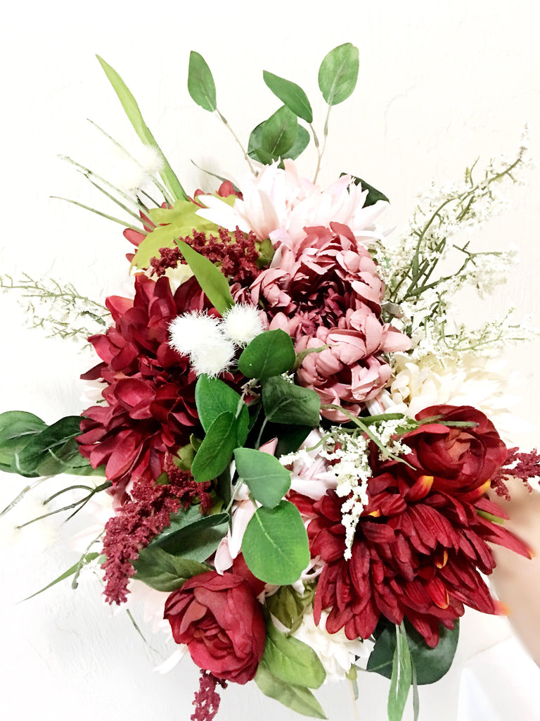 Penelope Bridal Bouquet with Red and Ivory Dahlias and Burgundy Ranunculus