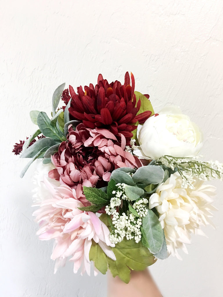 Penelope Bridesmaid Bouquet with Red and Ivory Dahlias and Burgundy Ranunculus