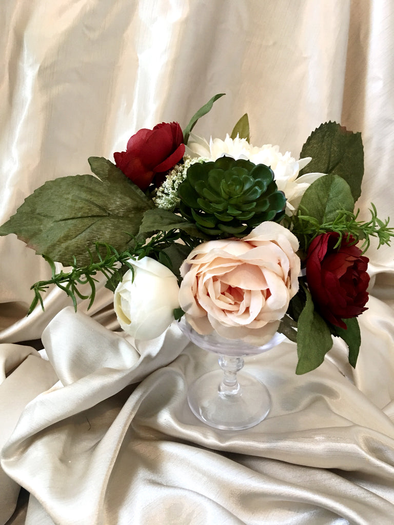 Penelope Table Centerpiece with Ivory Dahlia and Burgundy Ranunculus