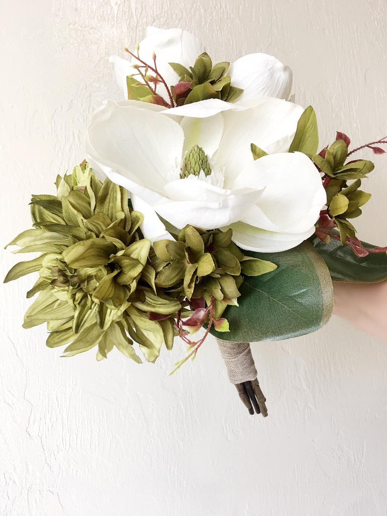 Scarlett Bridal Bouquet with White Magnolias and Green Peonies