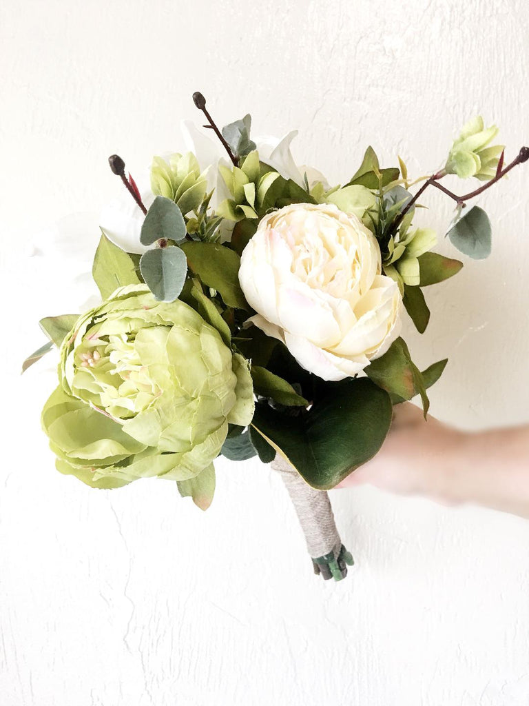 Scarlett Bridesmaid Bouquet Dahlia White Roses Green Peony