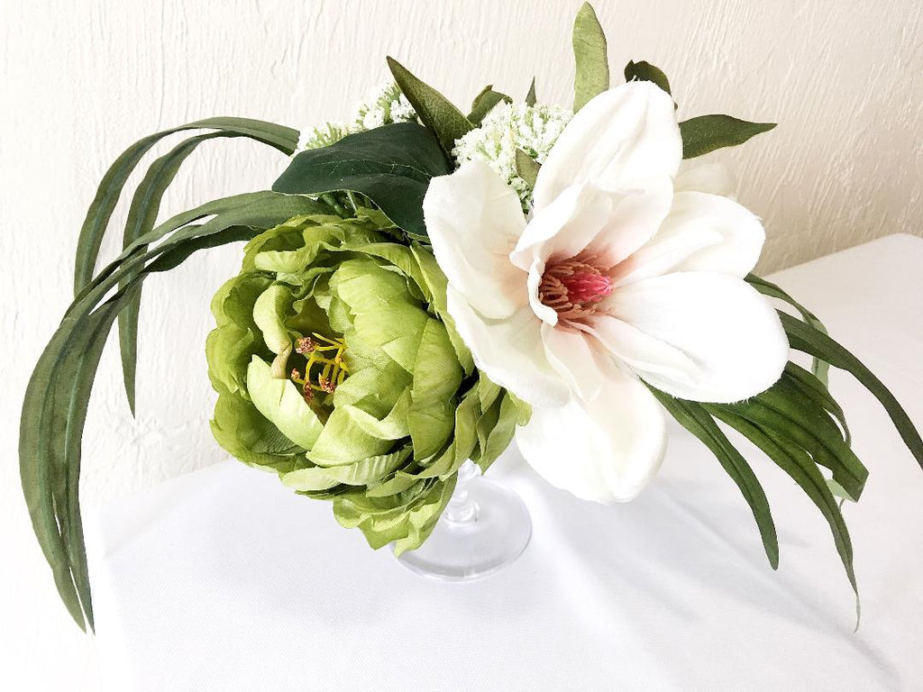 Scarlett Green and Ivory Table Centerpiece Magnolia Peony Queen Anne's Lace