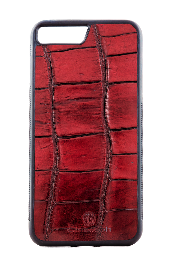 Bordeaux Genuine Crocodile Embossed Calfskin Leather Phone Case for iPhone and Galaxy