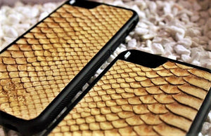 Beige Genuine Python Leather Case for iPhone and Galaxy