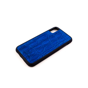 Blue Crocodile Leather Phone Case