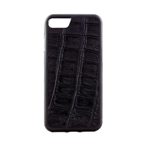 Black Crocodile Leather Phone Case