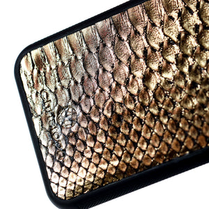 Black & Gold Python Leather Case