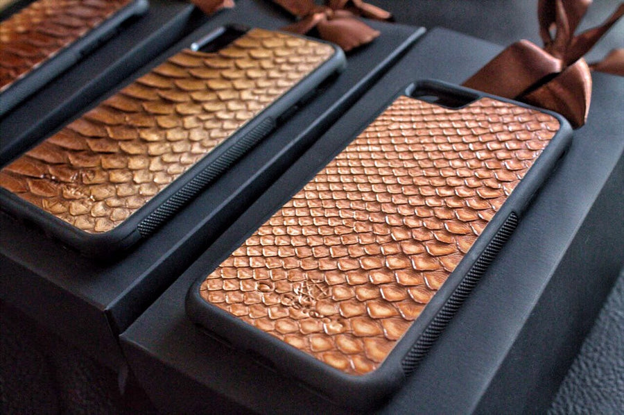 "Beige ""2"" Python Snakeskin Leather Case"
