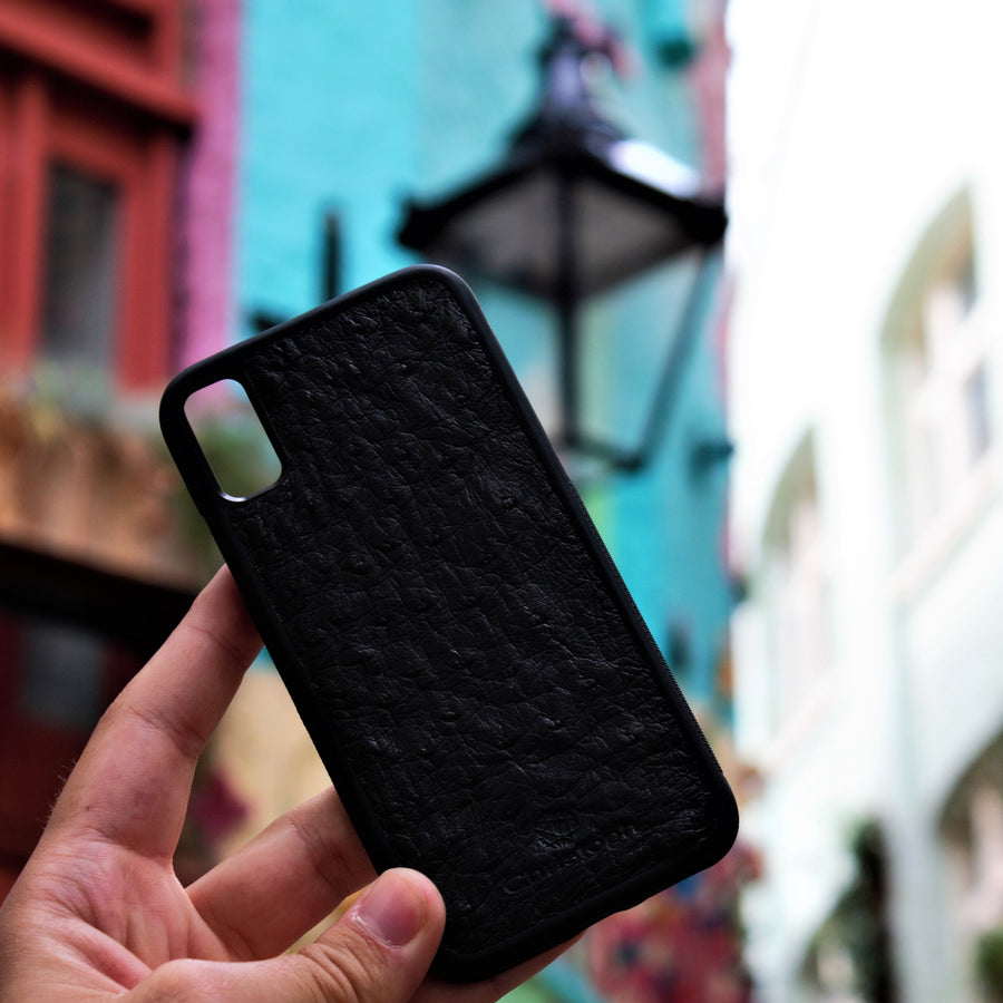 Black Ostrich Leather Case