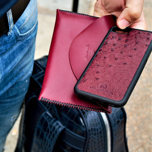 Bordeaux Ostrich Leather Case