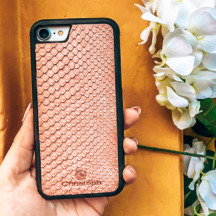 Pink Python Leather Case