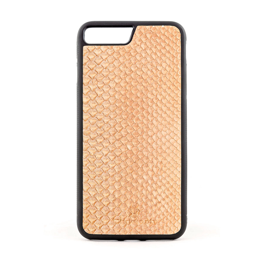 Beige Python Snakeskin Leather Case