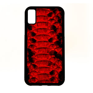 Red & Black Python Leather Case