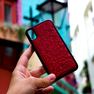 Red Crocodile Leather Phone Case
