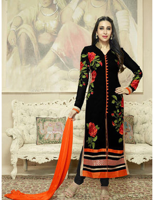 Black Color Black Color Georgette Embroidered Party Wear Salwar Suit Georgette 42