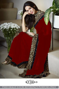 Nice And Attractive Red Color Designer Saree