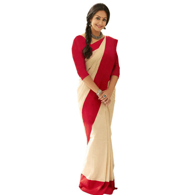 Cream Pattern Banglori Lace Border Cotton Silk Saree