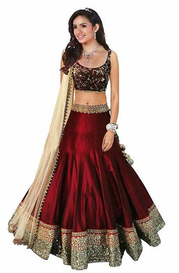Maroon Beauty Heavy Banglory With Embroidery Dimond Work Dup Lehenga