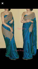 Blue Pepar Silk Designer Saree With Blouse