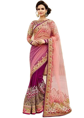 A-pink Work Pink Georgette Ethnic Print Saree