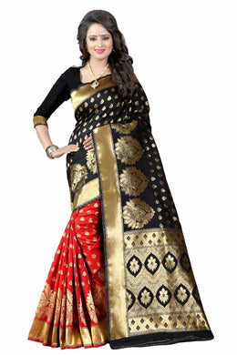 Black Color Poly Cotton Kanchivaram Saree
