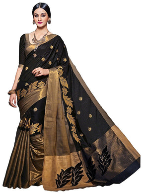Black Color Supar Hit Original Bridal Heavy Cotton Silk Embroidary Sareee