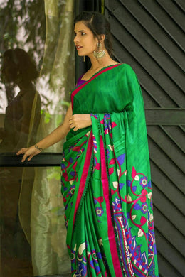 Awesome Designer Multi Color Tussar Silk Digital Print Saree
