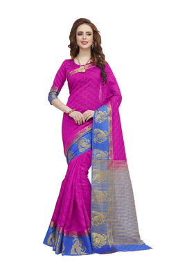 Banarasi Pink Blue Designer Jacquard   Silk Wedding Saree