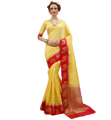 Banarasi Yellow Red Designer Jacquard   Silk Wedding Saree