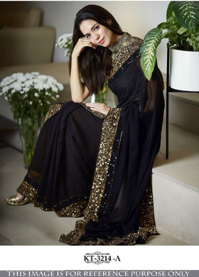 Awesome Designer Bleck 60gm gorget silk Multy with sequnce Saree