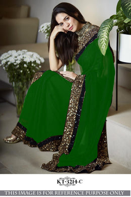 Awesome Designer Green 60gm gorget silk Multy with sequnce Saree