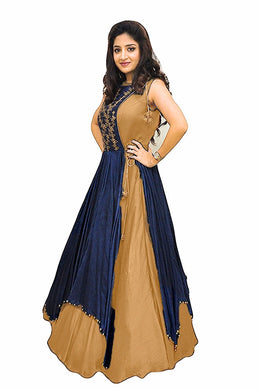 Blue Color Fashionable Latest Gown Style Floor Length Dress Material In Tapeta Silk With Embroidery