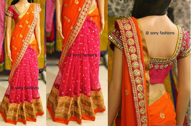 Georgette Orange & Pink Embroidered Half & Half Saree