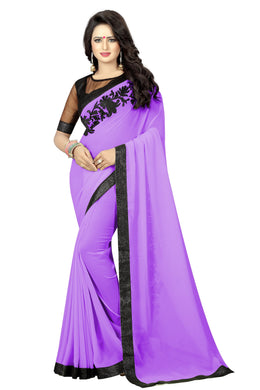 Awesome Purple Georgette Embroidery Saree