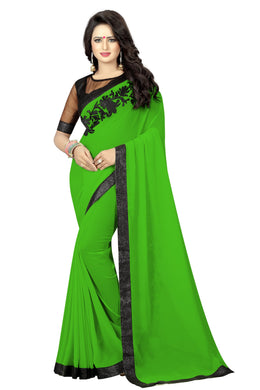Awesome Green Embroidery Saree With Blouse