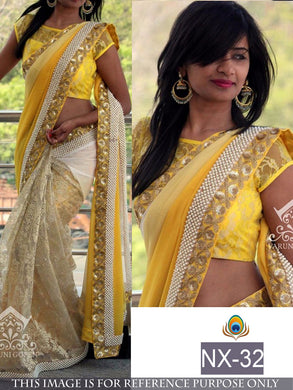 Awesome Yellow Georgette Designer Saree