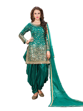 Dazzling Green Colored Festival Wear Taffeta Silk Patiyala Salwar Suit