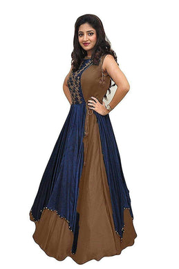 Brown And Navyblue 20-20 Embroidery Gown