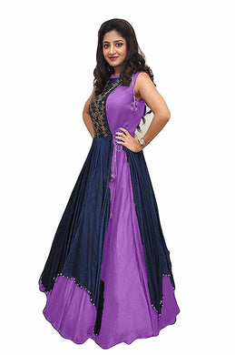 Designer Purple And Navyblue Color Embroidery Gown