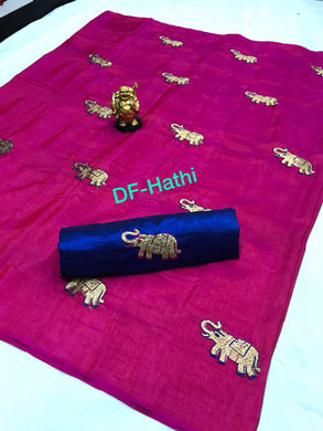 Beautiful Pink And Blue Color Sana Silk Saree With Work Blouse