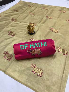 Attractive Cream And Pink Sana Silk Saree With Work Blouse