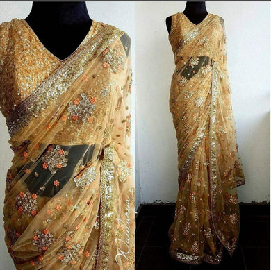 Designer Light Yellow Mono Net Embroidery + Sequence Saree With Blouse