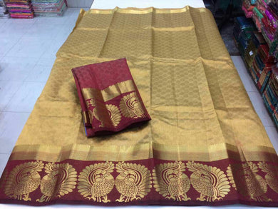 Awesome Golden And Maroon Tussar Silk Saree