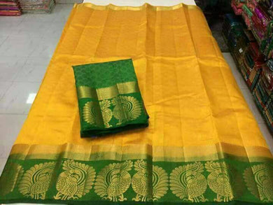 Attractive Yellow And Green Tussar Silk Saree With Blouse