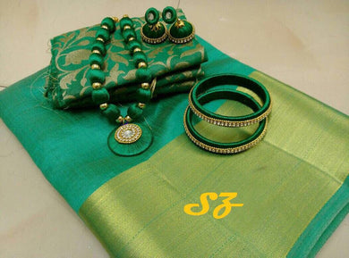 Attractive Green Designer Tussar Silk Saree With Blouse